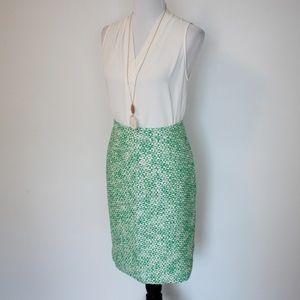 J. CREW Size 8 2 Pencil Skirt Blouse Set Green